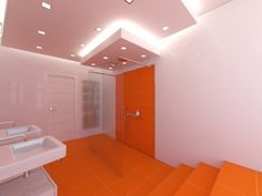 Flashy Orange Details Refreshing Attractive Bathroom Design : White And Orange Bathroom Decor Plus Two White Washstand And Dramatic Ceiling With White Door Orange Bathroom Decor, White Bathroom, Bathroom Wall, Shower Box, Glass Shower, Wooden Door Design, Wooden Doors, White Doors, White Walls