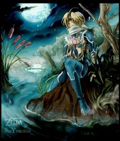 Zelda's alter ego, Sheik, from Ocarina of Time.  I love the anime style and the background in this drawing.