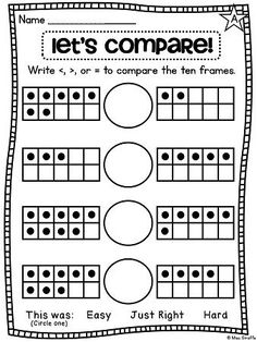 Comparing numbers worksheets that are differentiated and use many different strategies like this one uses ten frames... LOVE these