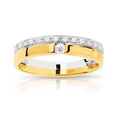 Bague alliance et solitaire 2 ors 750 diamant - vue 1