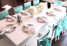 Party table from Breakfast at Tiffany's Birthday Party inside Kara's Party Ideas. See the details at karaspartyideas.com!