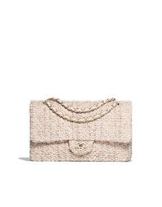 Klassische Tasche, Tweed & Goldfarbenes Metall-beige & wollweiß - CHANEL