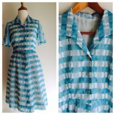 Baby blue and white '50s style vintage dress by MrsJoyful on Etsy, $55.00