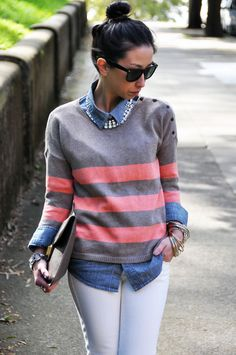Gap neon striped sweater over denim chambray button-down shirt with white skinny jeans and gray platform ankle boots