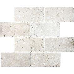 Backsplash - Chiaro Tumbled Marble Natural Stone Wall Tile (Common: x Actual: x Marble Countertops Bathroom, Travertine Backsplash, Kitchen Wall Tiles, Kitchen Backsplash, Kitchen Countertops, Splashback Tiles, Natural Stone Backsplash, Natural Stone Wall, Stone Tiles
