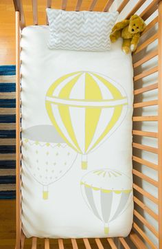 Baby bedding set in organic cotton - Hot Air Balloons (comforter+sheets+pillow)