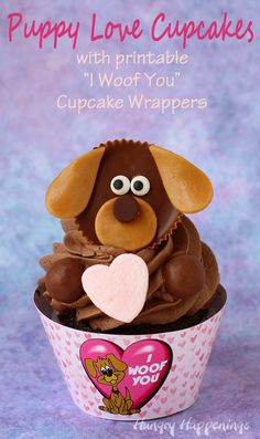 "Puppy Love Cupcakes with printable ""I Woof You"" Cupcake Wrappers for Valentine's Day by @hungryhappening"