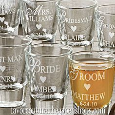 Personalized Favors #wedding Personalized Shot Glass/ Votive Holder Sale Price: $1.70 (15% off)