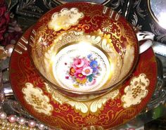 RICH GOLD RUBY/RED ROSE FLORAL BOUQUET TEA CUP AND SAUCER Crown Staffordshire  #CrownStaffordshireEngland