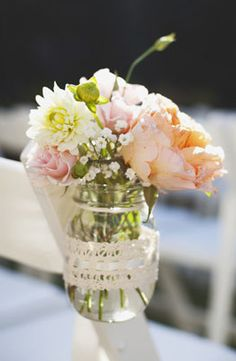 pretty chair accent with ribbon and mason jar