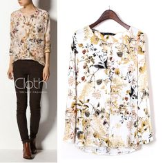 KCLOTH Blouse Floral Print Pocket T1378 Chiffon Blouse Chiffon Top Casual Women Summer Formal Sheer Lace Blouse Ladies Ivory