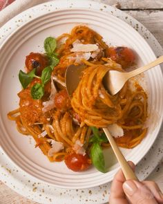 Appetizer Recipes Discover Super Simple Creamy Tomato Pasta Roasted tomatoes red peppers onions and garlic blended together with some fresh basil leaves and creamy = the most simple yet delicious pasta sauce! Tasty Videos, Food Videos, Food Blogs, Vegetarian Recipes, Cooking Recipes, Healthy Recipes, Keto Recipes, Delicious Pasta Recipes, Cooking Pasta