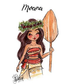I am Moana of Moto Nui. You will board my boat and restore the heart to Te Fiti. My gosh, you guys. The world building in this movie is beyond amazing! I was pondering to draw her with her hair in a bun, as I love that look on her, but I settled for the flowy hair in the end. Stating the obvious, I know. Hehe. I also drew Kida specifically in that pose so I could draw Moana with the paddle board. I think they would be great friends. ^_^ I definitely have to draw Hei Hei though, but I...