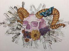 My idea of autumn! [Inktober inktober2016 skull horns moth flowers leaf leaves gold ink watercolor painting art artwork] ig: xorpii