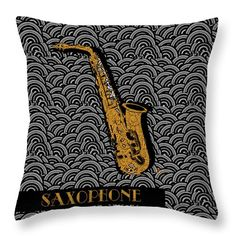 """Saxophone  Swing Throw Pillow (14"""" x 14"""") by Cecely Bloom.  Our throw pillows are made from 100% cotton fabric and add a stylish statement to any room.  Pillows are available in sizes from 14"""" x 14"""" up to 26"""" x 26"""".  Each pillow is printed on both sides (same image) and includes a concealed zipper and removable insert (if selected) for easy cleaning. #music #pillow #cover #insert #throwpillows #sax #saxophone #horn #brass #wind #musical #instrument #decor #home #bed #dorm #room"""