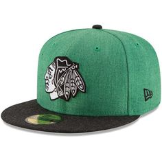 22b8a4d9255 Men s Chicago Blackhawks New Era Heather Kelly Green Heather Action 2-Tone 59FIFTY  Fitted Hat