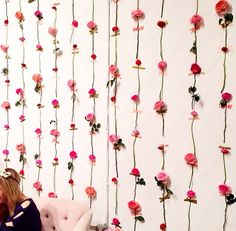 A floral wall of fun at Floral Wall, Pretty In Pink, Flowers, Fun, Group, Knitted Dolls, Tricot, Ideas, Bedroom