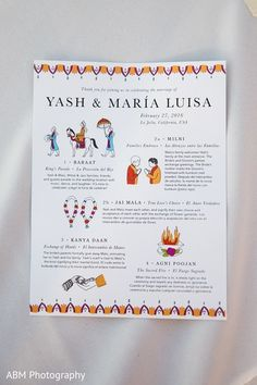 Wedding Programs By January Waters In English And Spanish For Mexican Indian Fushion