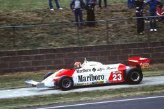 Bruno Giacomelli - Alfa Romeo 179C enters the pit lane during practice for the 1981 British Grand Prix, Silverstone