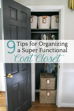 9 Tips for Organizing a Functional Coat Closet - Bless'er House 9 steps to completely organize a coat closet from start to finish to make it beautiful and functional   free printable labels.  #organizing #closet