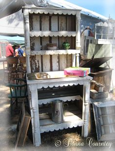 Potting bench no. 2, made from recycled elements. Renninger's Antique Fair, Mt. Dora, #gardening