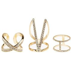 Charlotte Russe Gold Caged Rhinestone Stacking Rings - 3 Pack by... ($6) ❤ liked on Polyvore featuring jewelry, rings, gold, gold midi rings, knuckle midi ring, knuckle rings, round ring and mid-finger rings
