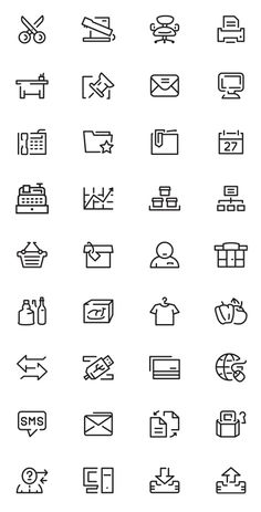 Simple Outlines Icons Set (36 Icons) #freepsdicons #vectoricons #flaticons #outlineicons #uiicons