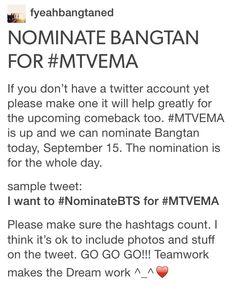 C'mon Twitter people! #NominateBTS for #MTVEMA spread around!
