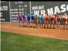 """Rays Rookies & first year players singing & dancing to """"Call Me Maybe,"""" in front of the Green Monster in wigs, pantyhose & spandex leotards. (Idea was James Shields.) Video can be found on youtube."""