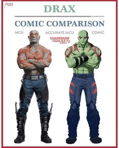 Marvel Cinematic Universe: How Accurate Are The Superhero Characters To Their Comic Book Versions? Marvel Comics, Marvel Vs, Marvel Heroes, Superhero Characters, Comic Book Characters, Comic Character, Comic Books, Marvel Universe, Drax The Destroyer