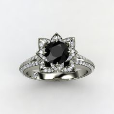 Pave Lotus Ring with black diamond