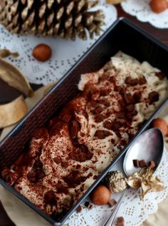 Marzipan Ice cream with chocolate pieces