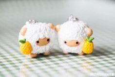 Custom Handmade Onanaknits Pineapple Sheep Polymer Clay Charm Keychain Set