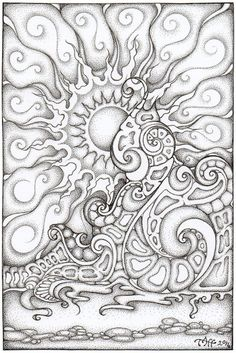 Onewave by TapWaterTaffy @ deviantART Abstract Doodle Zentangle Coloring pages Adult Coloring Book Pages, Colouring Pages, Coloring Books, Detailed Coloring Pages, Abstract Coloring Pages, Mandala Coloring, Zentangle Patterns, Zentangles, Art Plastique