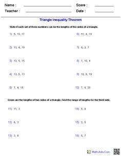 Worksheets Triangle Inequality Practice Worksheet geometry triangle inequality theorem activity and problems the worksheets