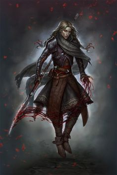 Warrior with necromantic spear - dark power