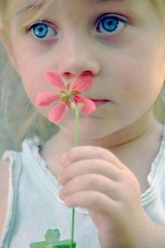 Pink flower...but look at those cornflower eyes!