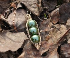 Pea in Pod Pedant  Green Pearl in Gold by LittleFeatherCharms, $15.00