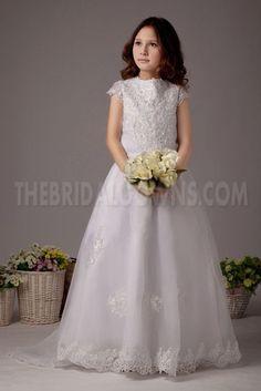 Lace White Romantic Flower Glamorous Girl Dresses (PL6533)