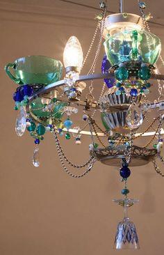 Beautiful eclectic homemade chandelier