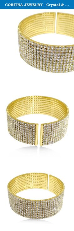 CORTINA JEWELRY - Crystal & Gold Open Cuff Bracelet - Premium 24K Heavy Gold-Plated - Made in America. Cortina Jewelry provides you with every opportunity to express yourself through dozens of unique and stylish designer jewelry in Sterling Silver, Yellow Gold, White Gold, Rose Gold, Rhodium and several other materials both natural and technologically advanced. We work with designers and producers to help you find quality pieces for yourself and any loved one on your gift list be it…