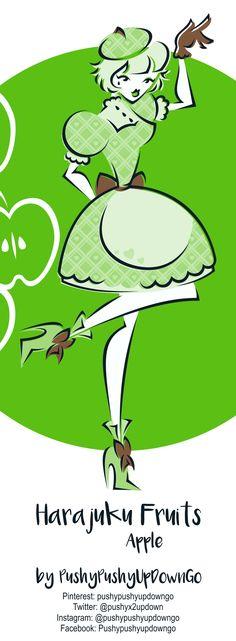 From my Harajuku Fruits kawaii fashion illustration series (available as part of a postcard art print set) Handmade Shop, Etsy Handmade, Handmade Items, Handmade Gifts, Fruits Kawaii, Etsy Christmas, Handmade Christmas, Harajuku, Fruit Illustration