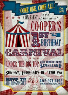 Custom vintage carnival birthday party invite from Frosting & Ink on Etsy.