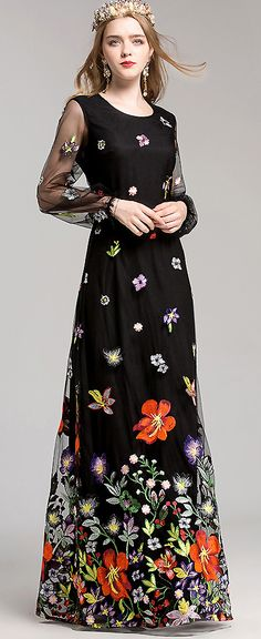 Vintage O-Neck Long Sleeve Mesh Embroidery Maxi Dress