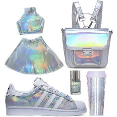A fashion look from November 2015 by gabriella-hollis featuring ban.do, white, Blue, adidas y holographic Girls Fashion Clothes, Teen Fashion Outfits, Mode Outfits, Girl Fashion, Teenage Outfits, Kids Outfits Girls, Cute Outfits For Kids, For Girls, Cute Swag Outfits