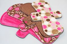 Post Partum Starter Stash - 2 11 Inch and 2 13 Inch Minky Mama Cloth Pads with Fleece backs