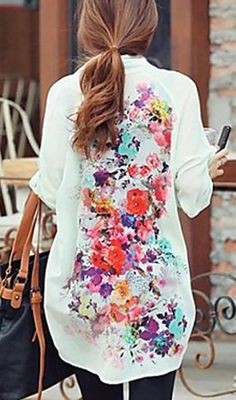 Watercolor floral back blouse //