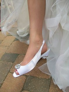 1 1/4 Sling Backs Wedding Shoes  Bride Bling Satin by Parisxox, $122.00