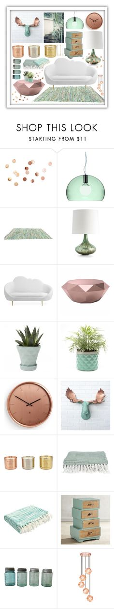 """""""Fresh copper"""" by beanpod ❤ liked on Polyvore featuring interior, interiors, interior design, home, home decor, interior decorating, Umbra, Kartell, Arteriors and Zuo"""