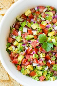 Avocado Salsa - light flavor, huge taste served with Restaurant Style #beanitos #tailgating